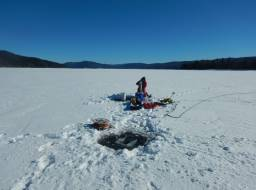 Water sampling on Quesnel Lake--Feb 2019