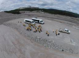Likely community residents view the repaired section of the tailings storage facility--Jun 2015