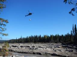 Heli-seeding with grass seed for erosion control--Sep 2014