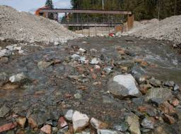 Downstream of Polley Lake weir, water flow control structure--May 2015